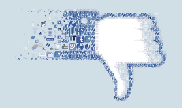 facebook thumbs down, social media, burglary target